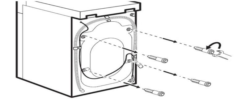 Убрать все болты с задней стенки стиральной машинки