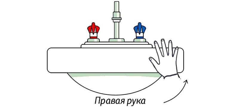Кран холодной воды располагают справа