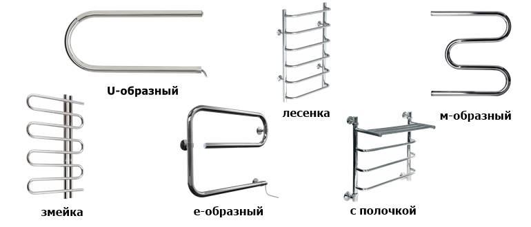 Различные формы полотенцесушителей